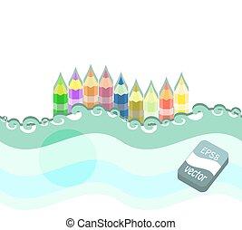 crayons, ensemble, coloré, arrière-plan., vecteur, blanc, illustration.