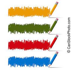 crayons, ensemble, coloré, griffonnage, croquis, bannières,  hand-drawn