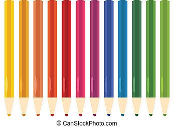 crayons, ensemble, coloré, isolé, blanc, pastel