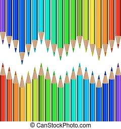 crayons, ensemble, coloré