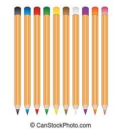 crayons, ensemble, eps10, couleur, bois, vecteur, divers