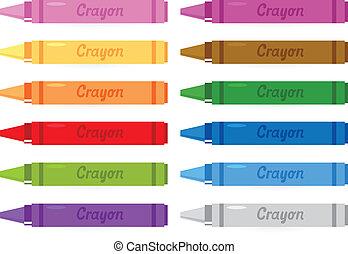 crayons, ensemble, isolé, coloré, blanc