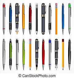 crayons, ensemble, stylos