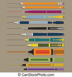 crayons, ensemble, stylos, marqueurs