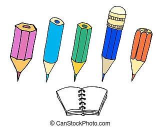 crayons, ensemble