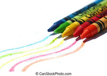 crayons, färgrik