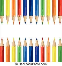 crayons, fait, frontière, coloré