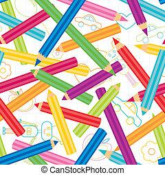 crayons, fond, coloré