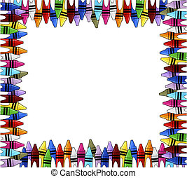 crayons multicolored frame with white background for copy space