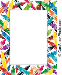 Crayons Frame - Multicolor crayon frame, copy space for...