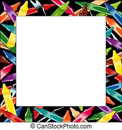 Crayons Frame, multicolor square border, black background,...