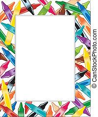 crayons, frame