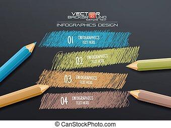 crayons, gabarit, coloré, infographic, fond, dessin