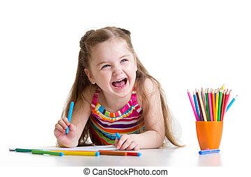 crayons, gai, enfant, girl, dessin, préscolaire