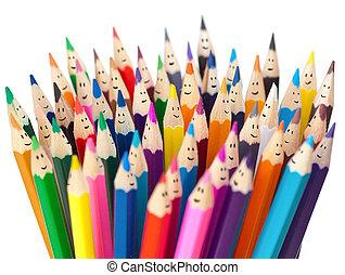 crayons, gestion réseau, coloré, isolated., communication, concept., faces, social, sourire