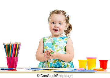 crayons, girl, agréable, dessin, coloré