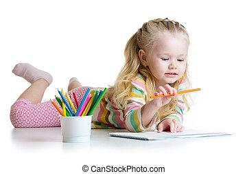 crayons, girl, crèche, dessin, enfant