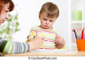 crayons, girl, dessin, enfant préscolaire