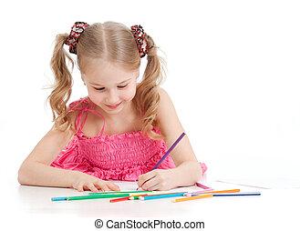 crayons, girl, dessin, heureux