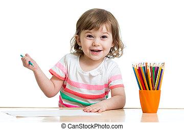 crayons, girl, gosse, dessin, heureux