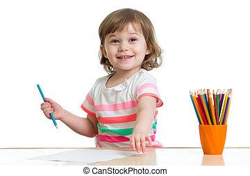 crayons, girl, gosse