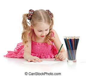 crayons, girl, heureux