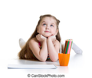 crayons, girl, rêveur, enfant