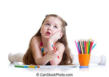 crayons, girl, rêveur, gosse