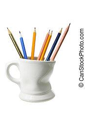 crayons, grande tasse café
