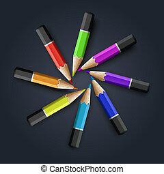 crayons, gris, fond, coloré