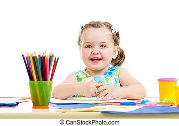 crayons, heureux, dessin, gosse