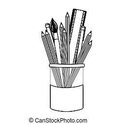crayons, icône, pot, silhuette, coloré