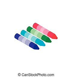 Crayons icon, isometric 3d style