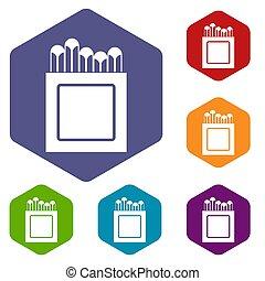 Crayons icons set hexagon