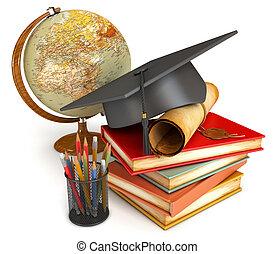crayons, illustration., cup., globe, livres, couleur, isolé, remise de diplomes, pile, casquette, arrière-plan., render, divers, conceptuel, blanc, diplôme, 3d