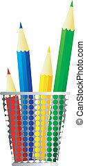crayons, image, vecteur
