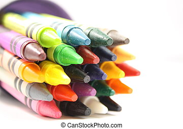 Crayons in a cup. - Colorful arrangement of crayons in a...