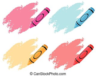 Crayons in four colors