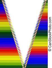 crayons in open zipper