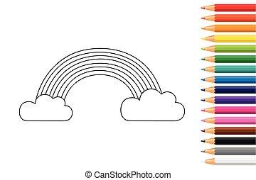 crayons, livre coloration, arc-en-ciel