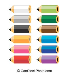 crayons, mettez stylique, coloré, ton