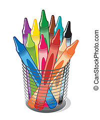 Multicolored wax crayons in a desk organizer for home, office and back to school, art projects.