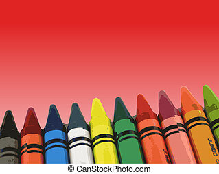 Crayons on a fading red background (Vector Illustration)
