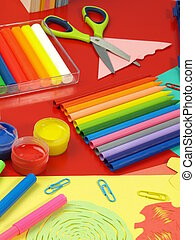 Crayons on a red desk - Crayons and colorful children's...