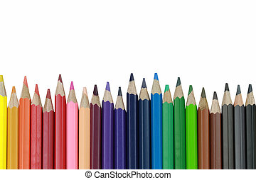 Crayons or Pencil color isolated on white background.