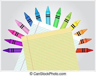 crayons, papier