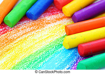 crayons pastel, huile