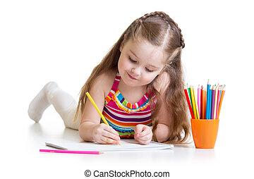 crayons, petite fille, dessin, préscolaire, heureux