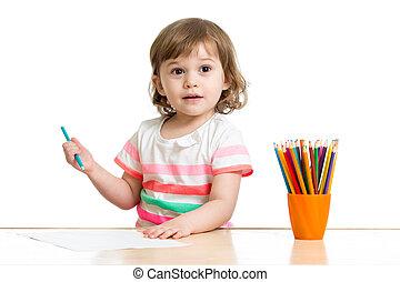 crayons, petite fille, gosse, dessin, préscolaire, heureux