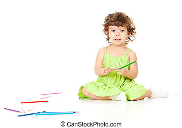 crayons, petite fille